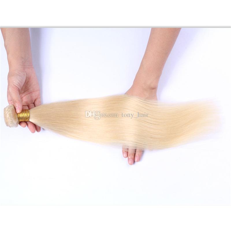 Platinum Blonde Peruvian Straight Hair Weaves #613 Blonde Virgin Peruvian Human Hair Bundles Blonde Hair Extensions 300G