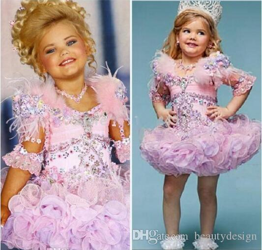 Lovely Eden Wood Pink Baby Toddler Pageant Dresses For Girls Glitz Rhinestones Ball Gown Pink Feathered Kids Party Dresses 2017