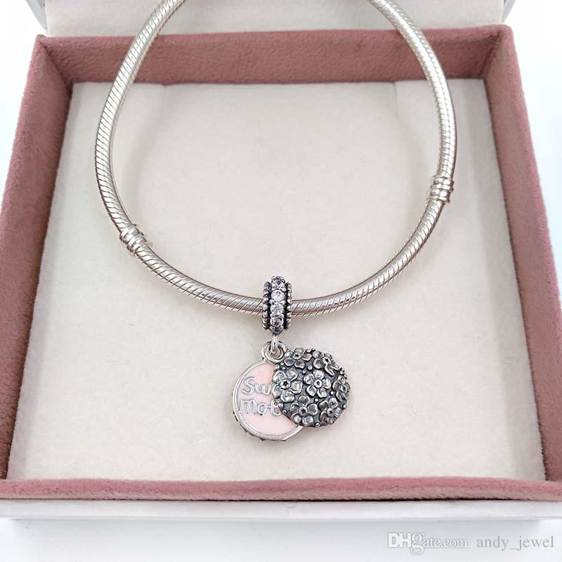 Mother's Day .925 Sterling Silver Beads Sweet Mother Charm Fit European Brand ALE Style Bracelets & Necklace Mom Gift Cheap Jewelry 791285CZ