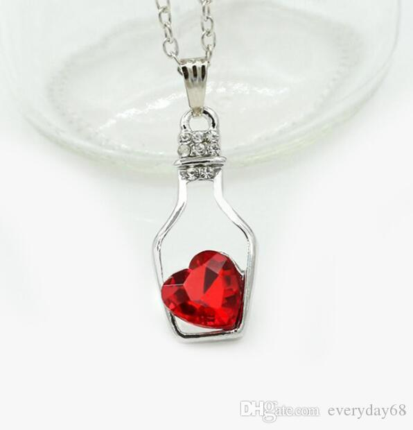 Women Austrian Crystal Heart Necklaces Wish Bottle Love Heart Pendant Necklace Bride Wedding Gift Bridesmaid Party Jewelry