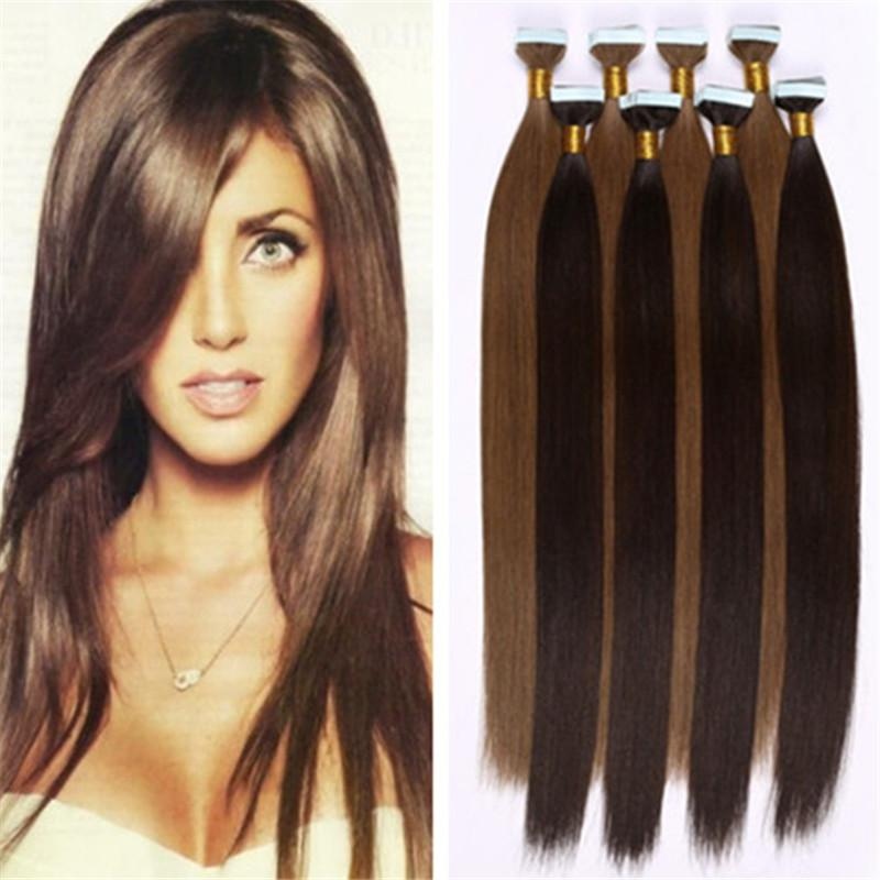 True Skin Weft Pu Russian Remy Human Hair Extensions Straight Tape