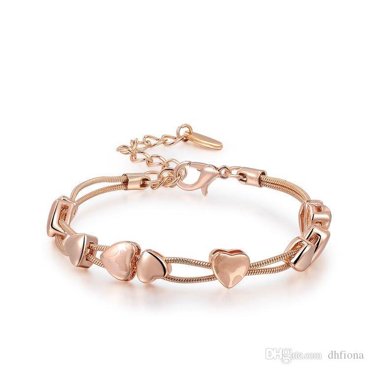 8abd36a46337e Compre Pulseira De Ouro Charme Pulseiras Coração Projeto Rose Banhado A Ouro  Cadeia De Mão Para A Menina Mulheres Presente Do Partido Da Moda Jóias Por  ...