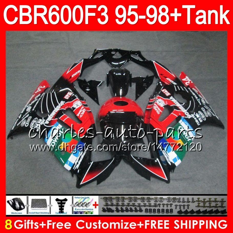 8 regalos JOMO negro es para HONDA CBR600F3 95 96 97 98 CBR600RR FS 2HM33 CBR600 F3 600F3 CBR 600 F3 1995 1996 1997 1998 blk rojo Fairing