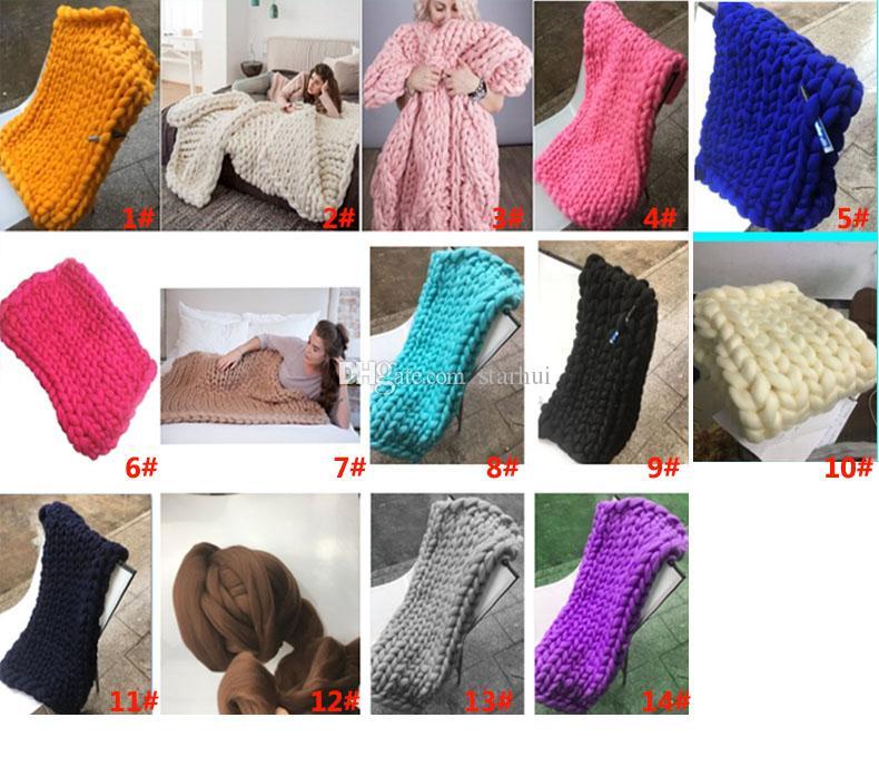 Cobertor de lã Quente Chunky Malha Cobertor Fios de Tecido Grosso Lã Merino Volumosos HandCrafted Grossas Cobertores De Malha 14 Cor WX9-18