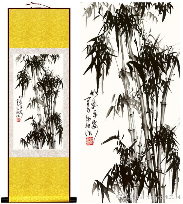 Pintura de bambú Caracteres de Chiense y Pintura de flor Decoración de oficina en casa Pintura en pergamino chino Arte de pared Desplazamiento Imagen