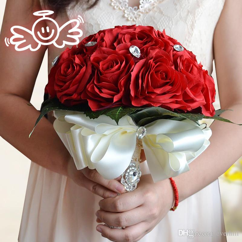 Jane Vini Beautiful Red Pink White Bridal Bouquet with Crystal Artificial Wedding Flowers Bouquet For Brides Bridesmaid Ramos De Novia 2017