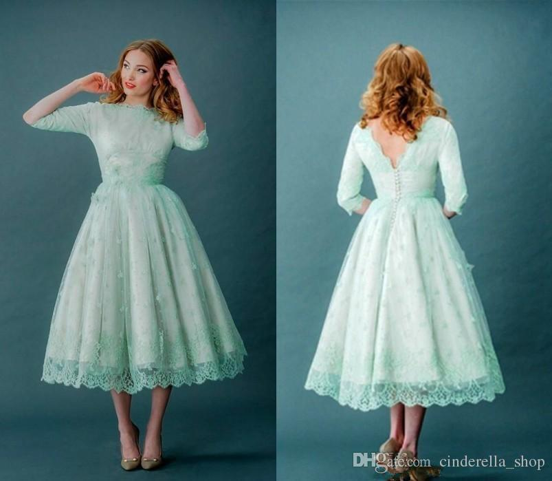 Modest Mint Green Short Bridesmaid Dresses 2017 Jewel Neck Open Back ...