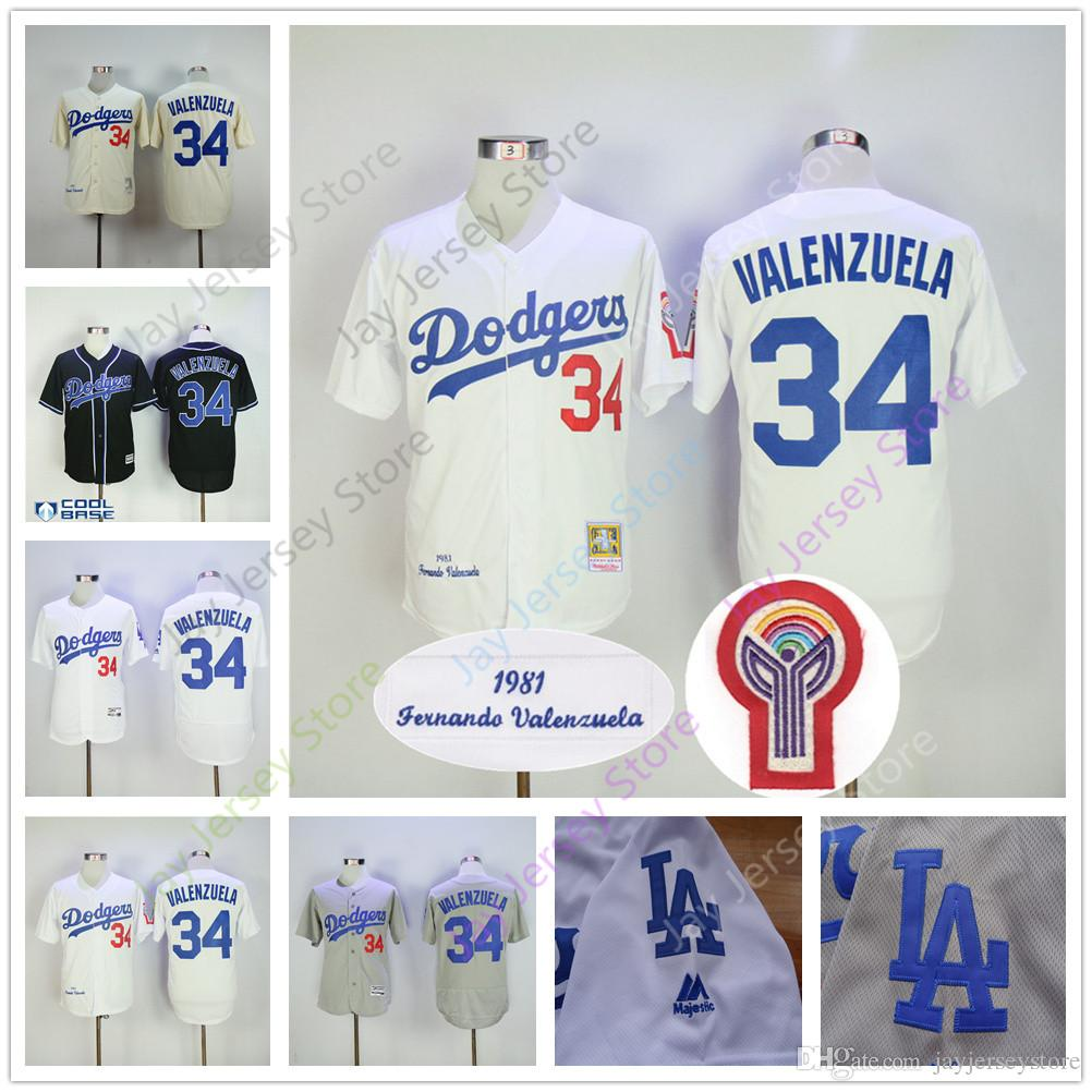... ireland 2017 fernando valenzuela jersey 1981 throwback cream white  black flexbase cooperstown grey los angeles dodgers sweden los angeles  dodgers mens ... c0adaaa25