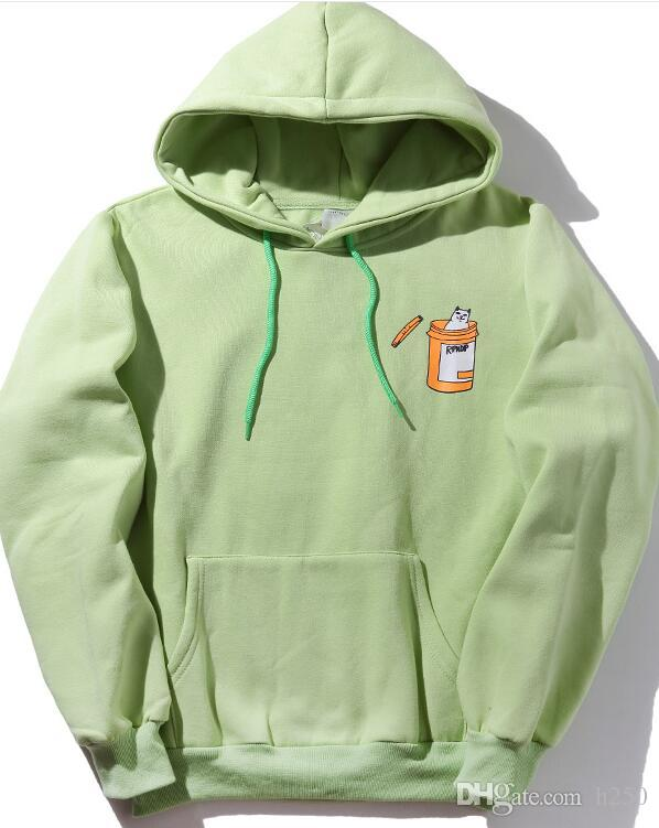 hot sell explosion tide brand ripndip hip hop pocket cheap cat hooded sweater plus velvet hat sweater supp cham yeezus aape ripndip