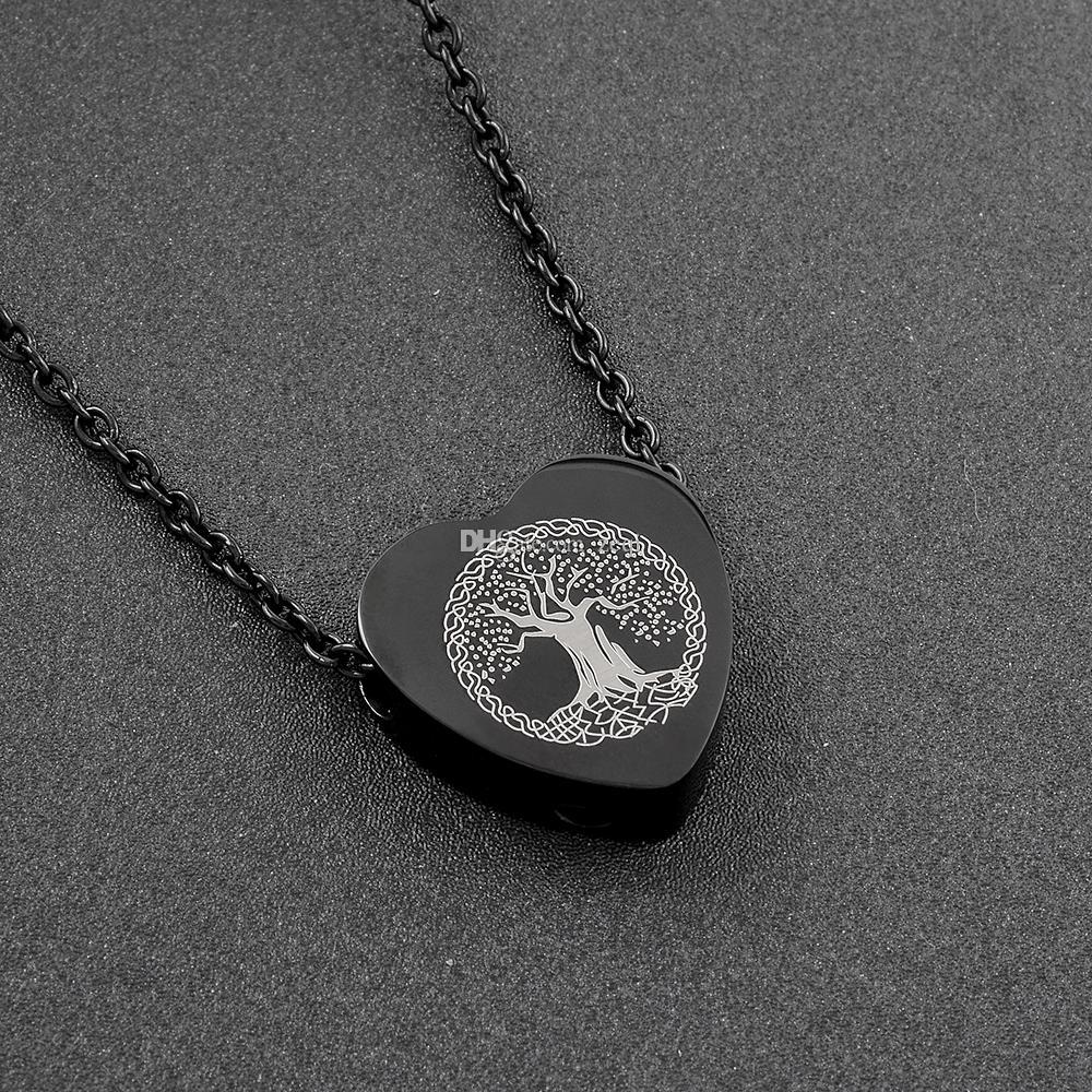 IJD9813 Collier avec pendentif en crémation en acier inoxydable 316L haut polonaisArbre de vie collier avec cendres et urnes