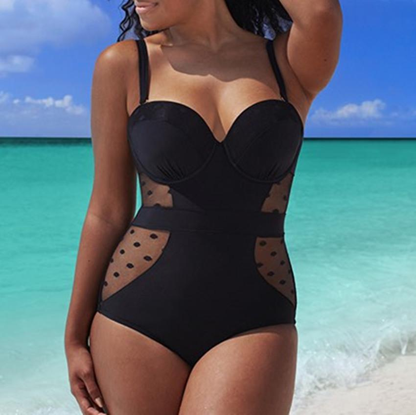 3de67da9f2 2019 Wholesale Black Dots Plus Size Mesh Swimsuit For Women 2017 New Push  Up One Piece Bodysuit Large Swimwear Monokini Big Bathing Suit From  Sandlucy