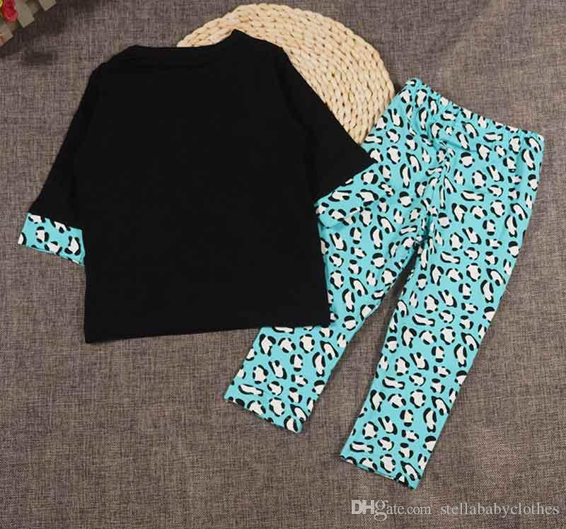 Autunno Ragazze Torna a scuola Toddler Outfit Moda Leopard Stampato Bambini Boutique Abbigliamento Set Western Girls 2 pezzi ragazze T pantaloni set