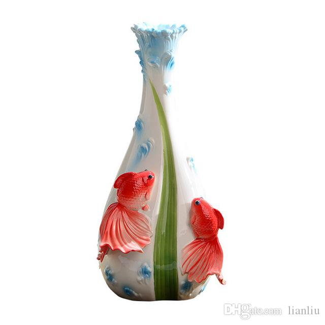 New Enamel European And American Style Goldfish Vase For Wedding