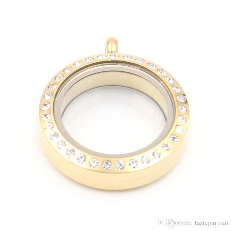 Gioielli panpan! Ciondolo medaglione in acciaio inossidabile da 25 mm a forma rotonda in acciaio inossidabile 316L con cristalli