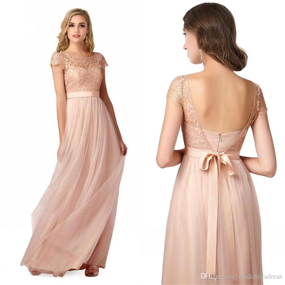 2017 cheap brush cap sleeves long bridesmaid dresses vintage sheer 2017 cheap brush cap sleeves long bridesmaid dresses vintage sheer lace backless evening gowns maid of honor wedding party prom dress cps221 satin ombrellifo Images