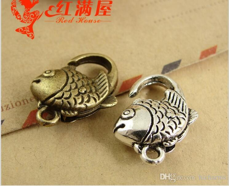20*13MM Antique bronze tone goldfish fish lobster clasp for bracelet, vintage silver jewelry clasp for necklace, metal key ring holder hook