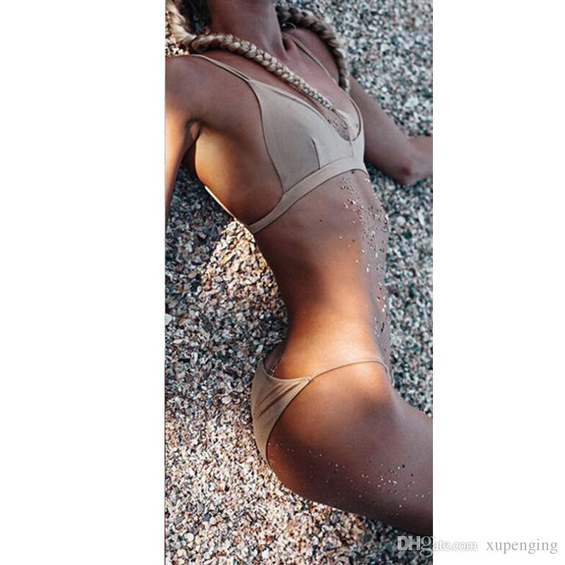 2017 Sexy Solid Khaki Sling Wrap Backless Triangle Bikinis Sets Swimwear For Women Swimsuit Beach Wear Bathing Suit S M L