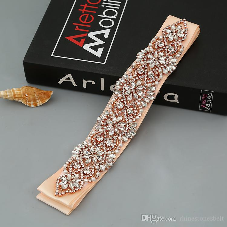 Handmade Rose Gold Rhinestones Appliques Wedding Belt Clear Crystal Sewing on Bridal Sashes Wedding Dresses Sashes Bridal Accessories T10