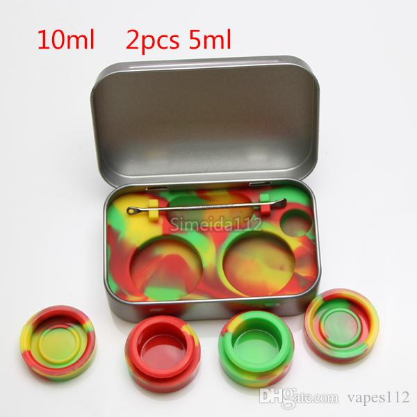 Hot sale 4 in 1 Tin Silicone Storage Kit Set with 5ml Silicon Wax Container Oil Jar Base Silver Dab Dabber Tool Metal Case