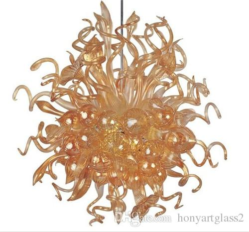 Source lumineuse LED orange chaîne en verre soufflé à la main Lustre AC 110V 120V 220V 240V Murano Glass Art moderne Lustre