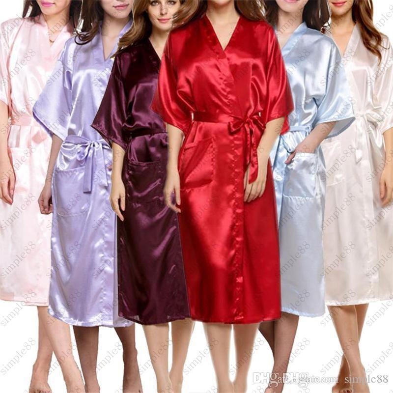 Großhandel Frauen Satin Robe Long Dressing Gown Frauen Satin Kimono ...