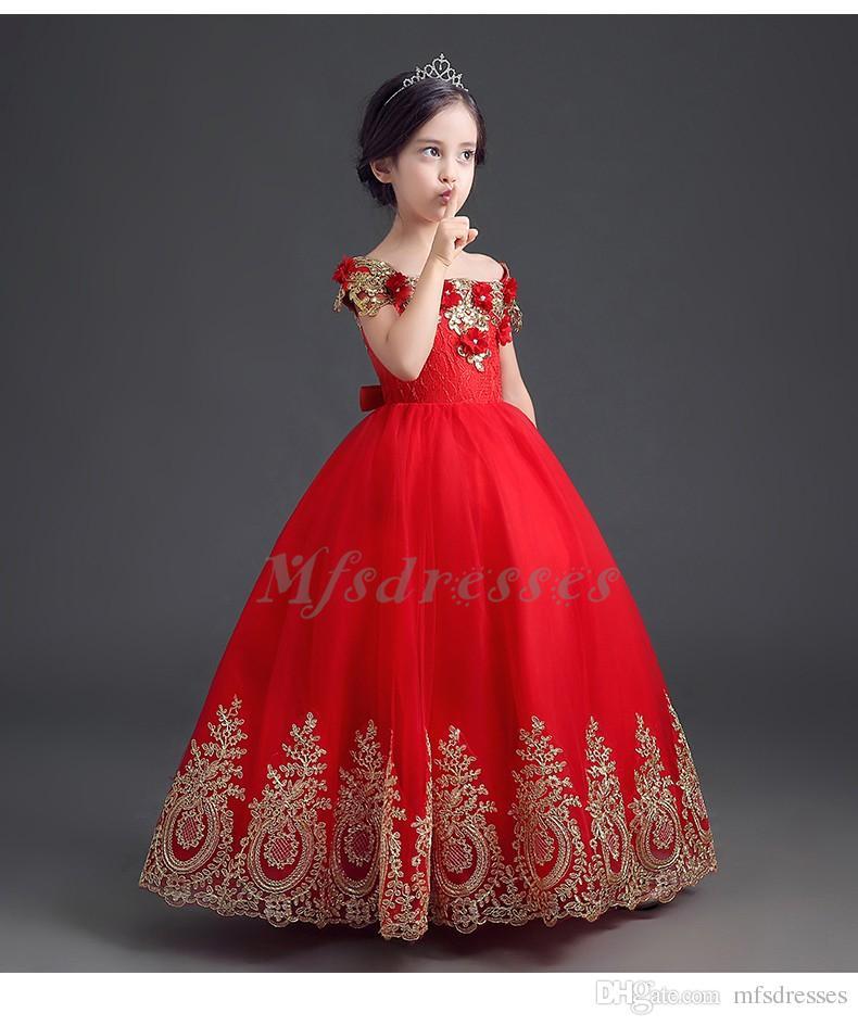 2017 lujo abalorios apliques de oro vestido de bola fuera del hombro rojo largo vestidos de flores niña vestidos de desfile niños vestidos de fiesta de baile
