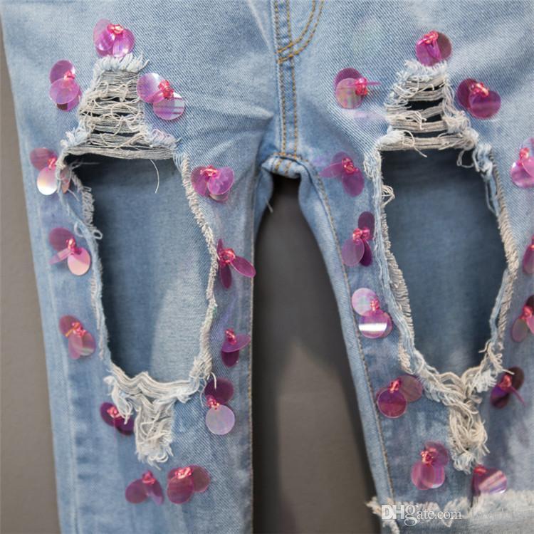 저렴한 패션 여름 장식 조각 데님 어린이 청바지 큰 구멍 여자 청바지 새로운 판매 청바지 아이 바지 바지 소녀 옷 아이 의류 A719