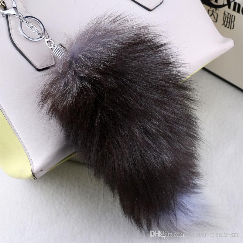 Fluffy Sunny Fox Tail Fur Cosplay Toy Handbag Accessories Key Chain Ring Hook Tassels Black Yellow Christmas Gift C98L
