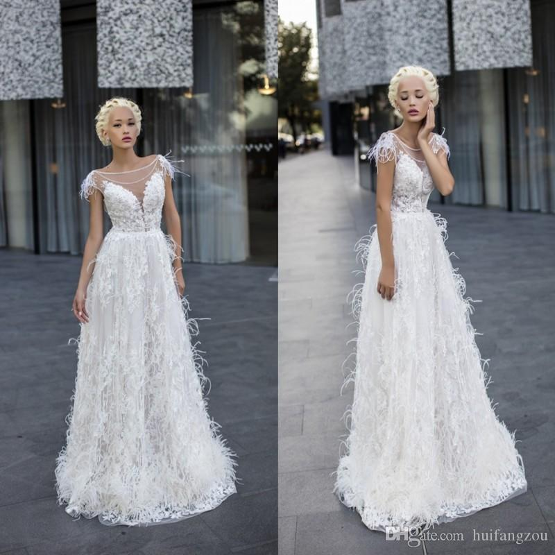 Discount A Line Wedding Dresses Ostrich Feather Scoop
