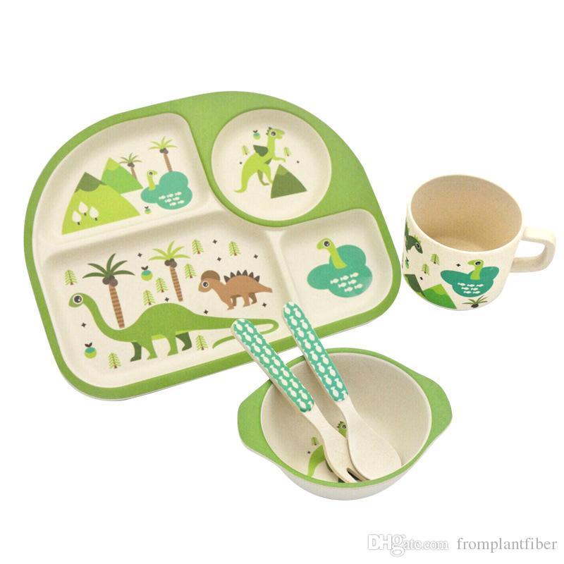 2017 set green dinosaur print baby bamboo square dinner sets eco