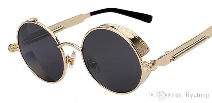 4760e40ba3 Round Metal Sunglasses Steampunk Men Women Fashion Glasses Brand Designer  Retro Vintage Sunglasses UV400 Sunglasses For Women Cat Eye Sunglasses From  ...