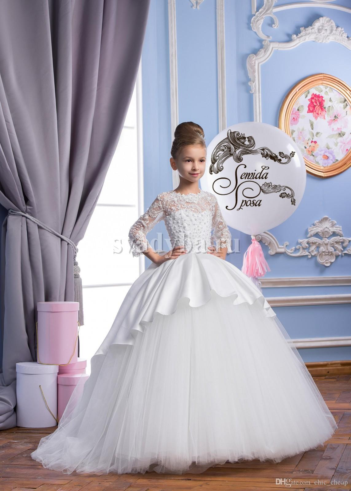Lace Pearls 2018 Arabic Flower Girl Dresses Lace Sleeves Satin&Tulle Child Wedding Dresses Vintage Little Girl Pageant Dresses FG01