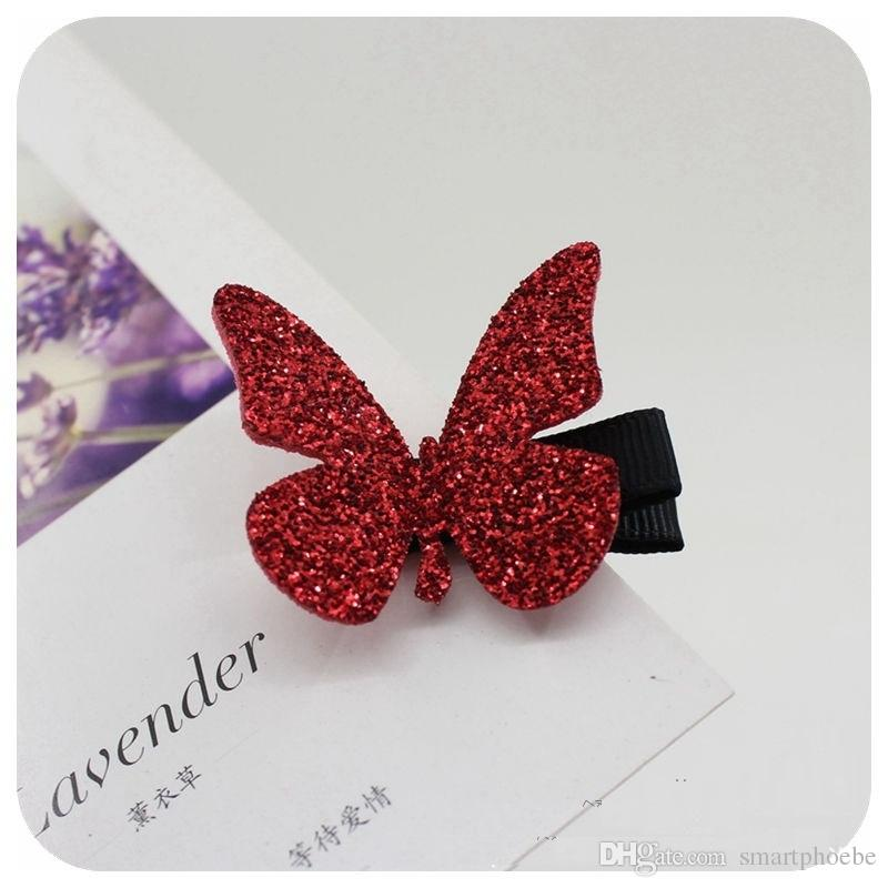 Wholesale 7C Solid Glitter Cute Butterfly Baby Girls Hairpins Fashion Girls Hair Clip Baby Hair Accessories