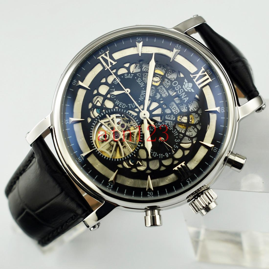 Ossna 45mm Hollow Skeleton Automatic Mechanical Date Day Stainless Steel Mens Watch 3ATM Water Resistantance Rating Wristwatch 2197