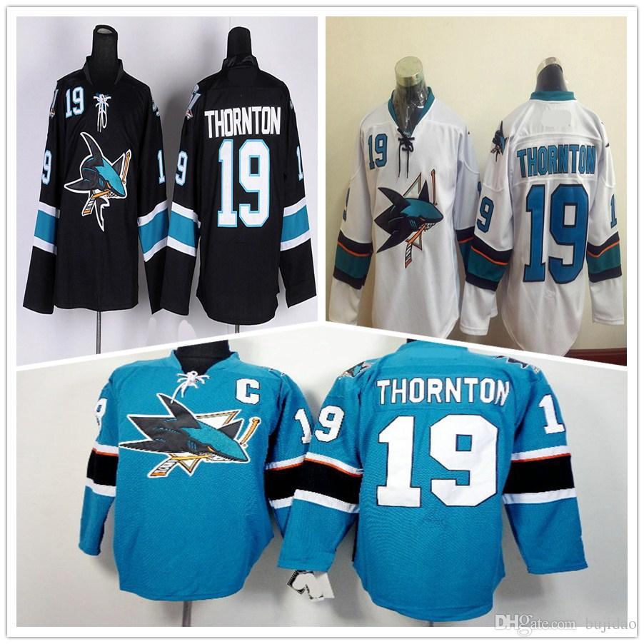 1f3570cb8 ... 2017 Wholesale San Jose Sharks Ice Hockey Jerseys 19 Joe Thornton Jersey  Stadium Series Black Green ...