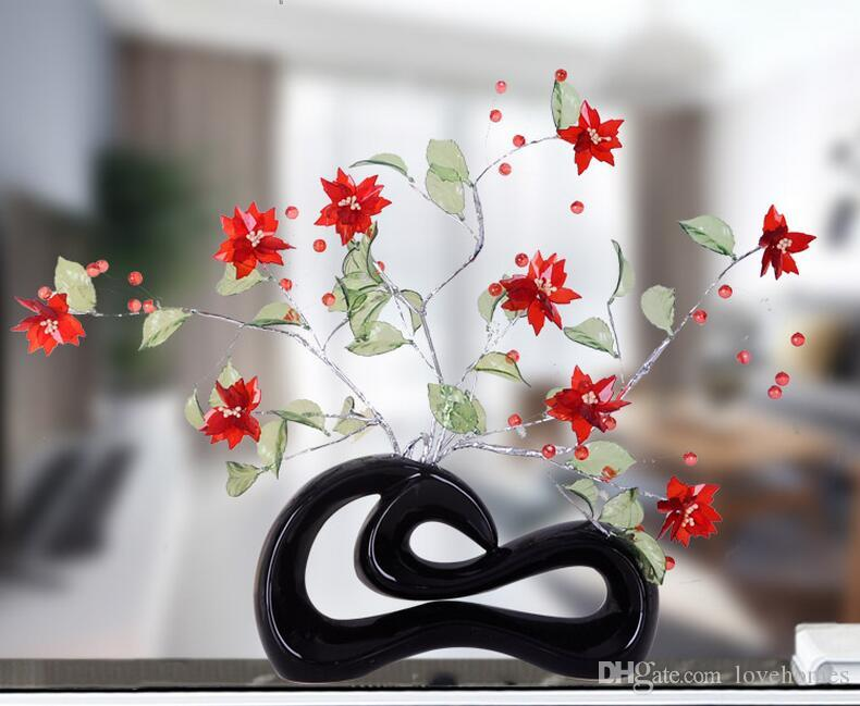 Just flowers Modern Ceramic Vase for Home Decor Tabletop Vase blackcolor this price is for a set
