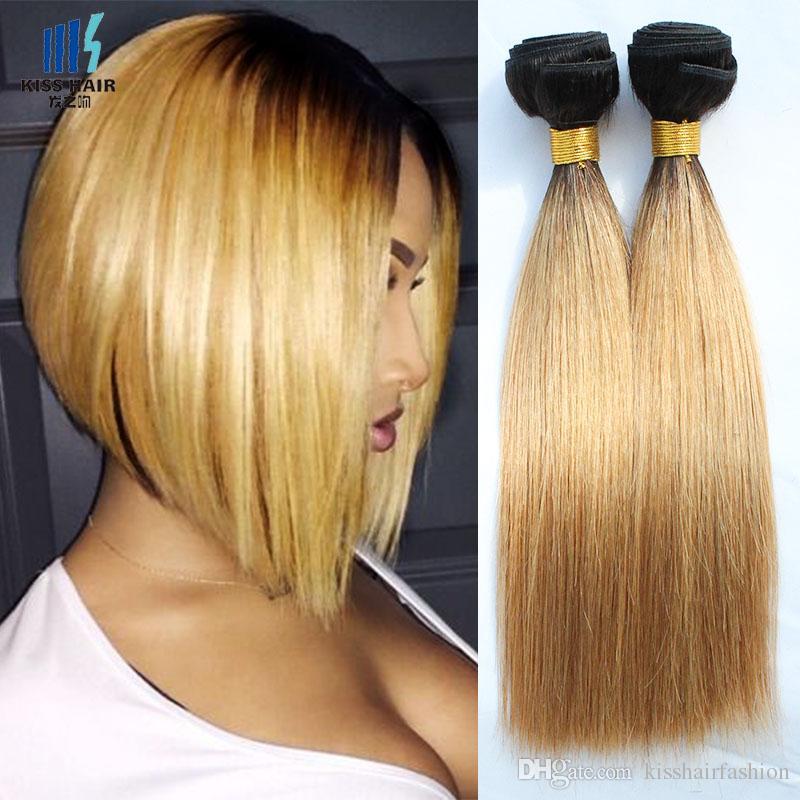Colored Peruvian Hair 1 Bundles Straight T1B/27 Honey Blonde Ombre Hair Short Bob Style Brazilian Indian Cambodian Virgin Human Hair Weaves