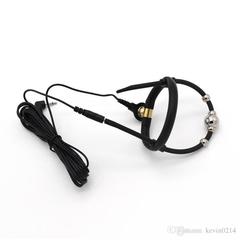 Anneau de gland taille réglable choc électrique avec 16mm perles stimulateur pénis manches électro choc jouet à thème médical I9-183