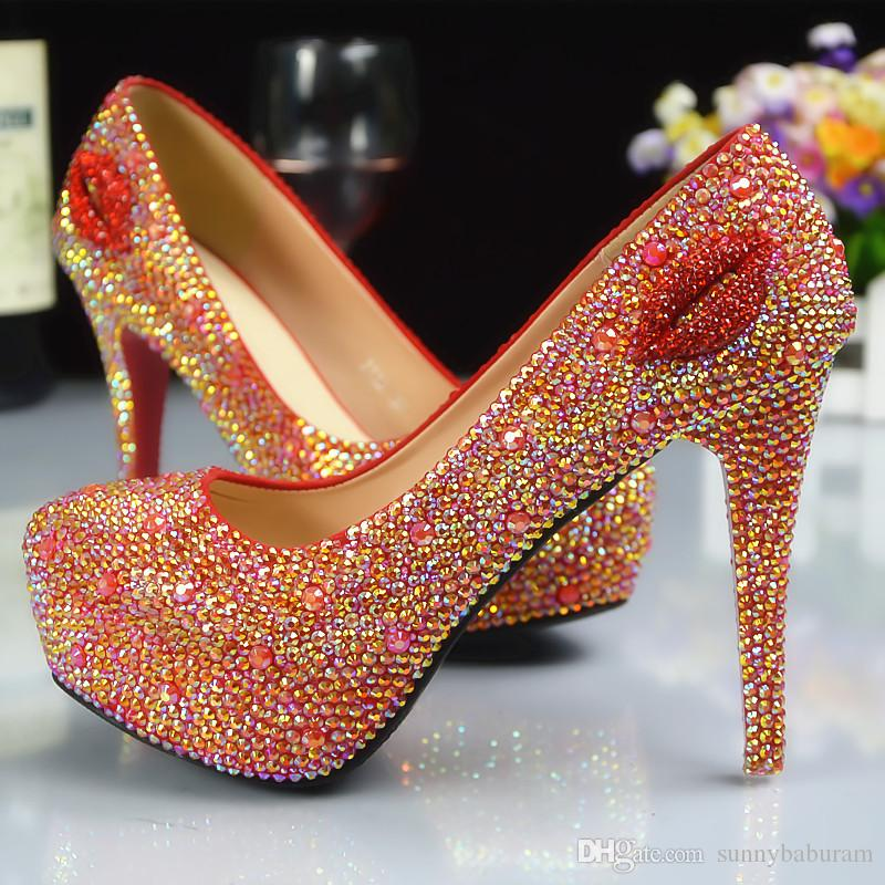 888c50ae41f9 Wholesale Gold Red Lips Cinderella Shoes Prom Evening High Heels Beading  Rhinestones Hand Made Bridal Bridesmaid Wedding Shoes Coloured Wedding Shoes  ...
