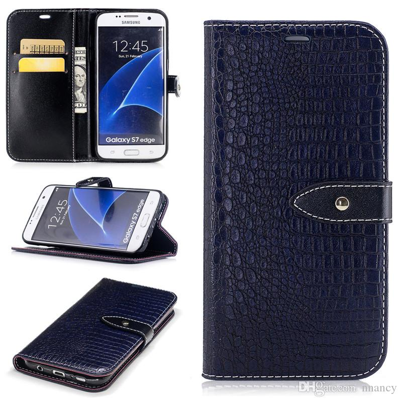 86f6fc3aa Luxury Crocodile Texture Case For Samsung Galaxy S7 Edge G935F Cover  Shockproof Shell Wallet Flip Case Premium PU Leather Case Customized Cell  Phone Cases ...