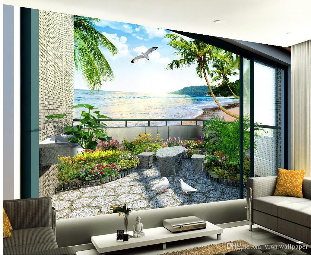 Balcony Garden Sea View Room 3D Stereo TV Wall Mural 3d