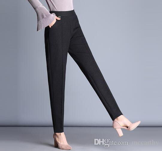 Kadınlar için yüksek bel sonbahar bahar kış harem pantolon rahat kapriler elastik bel siyah yeşil pantolon kadın zayıflama fzp0712
