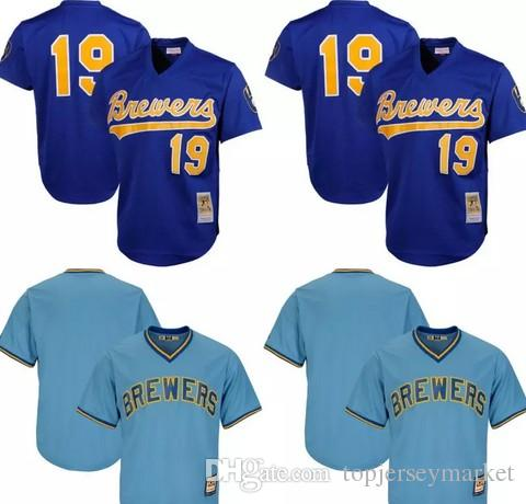 new style 6e51a 9e106 milwaukee brewers 19 robin yount mesh batting practice blue ...