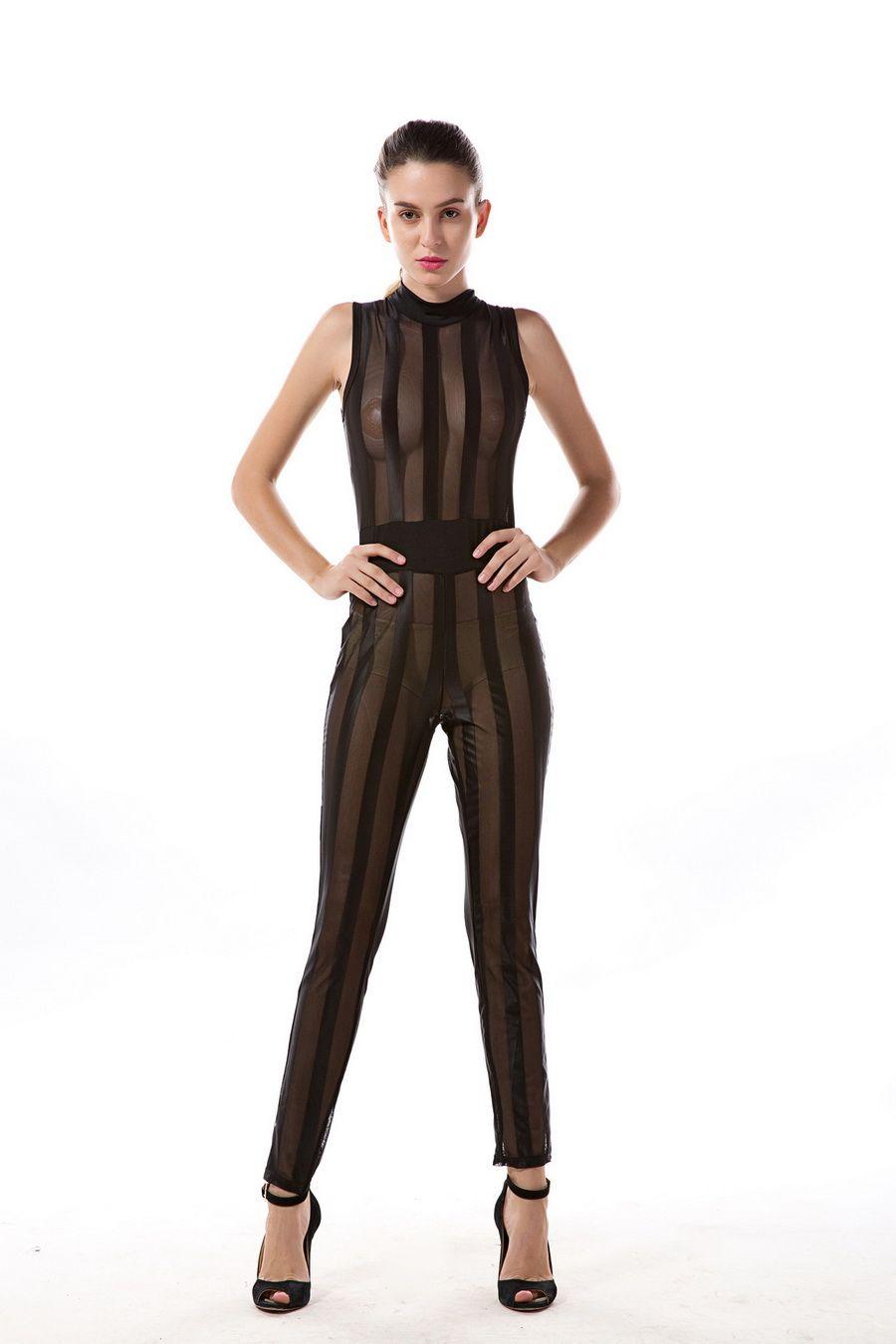 2017 Yaz Kadın Parti Bodycon Tulum Derin V boyun Seksi Çapraz geri strappy bodysuit tulum bandaj saydamlık romper yeşil