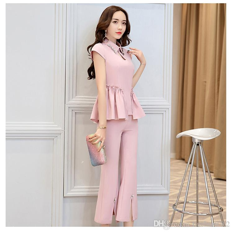 2017 Korean Style Women Pant Suits 2017 Summer Fashion Elegant Set ...