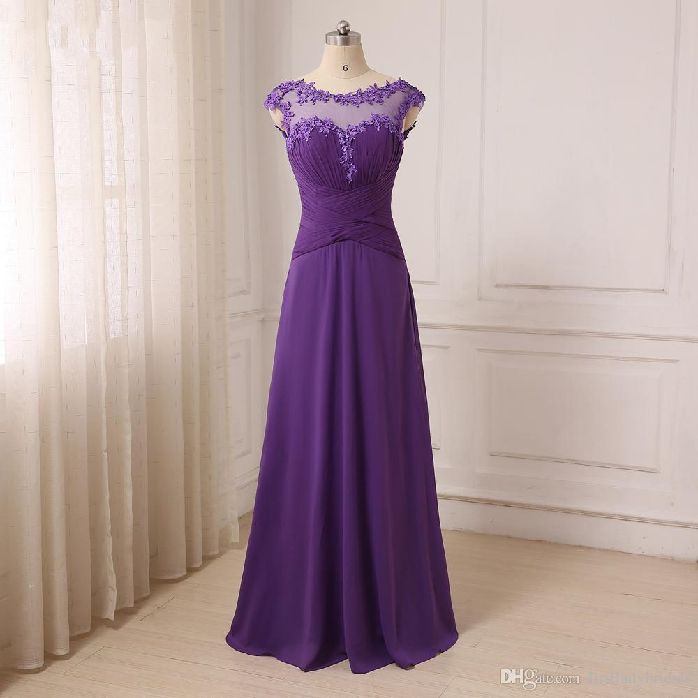2017 Purple Bridesmaid Dresses Chiffon Sheer Appliqued