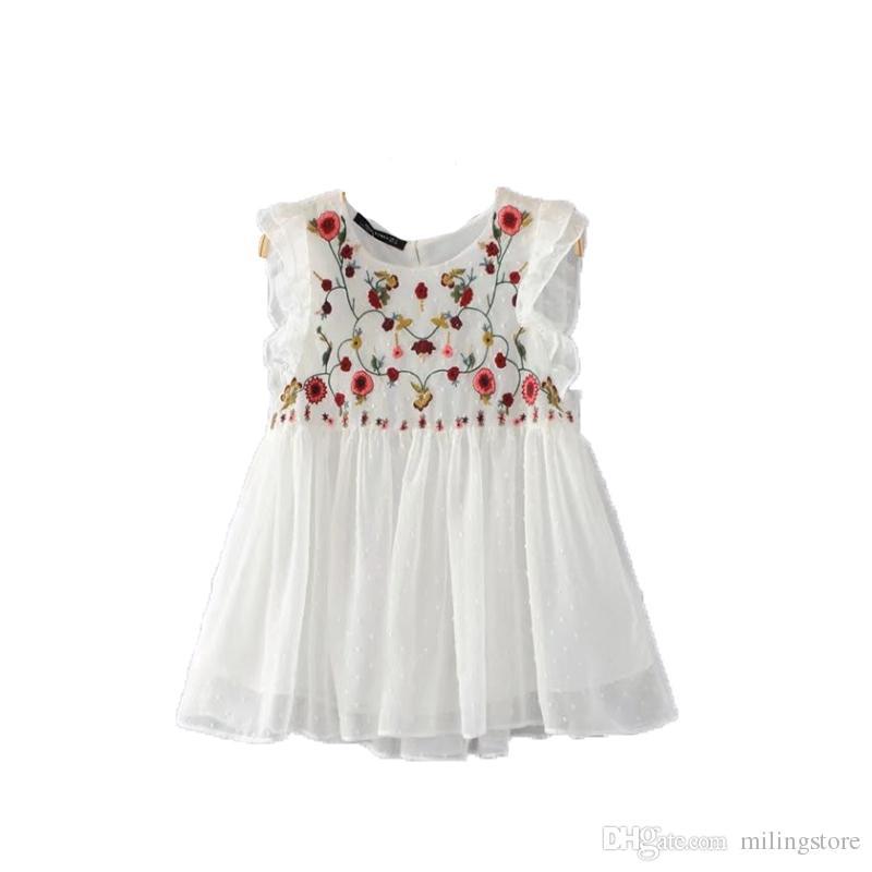 Doce floral bordado plissado babados camisa bonito sem mangas vintage boneca blusa senhoras verão casual tops