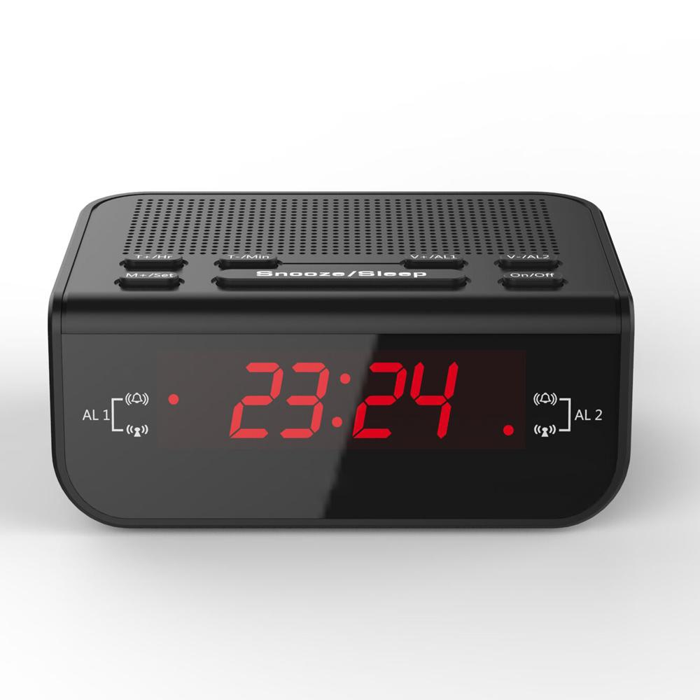 Modern Design Compact Digital Alarm Clock FM Radio with Dual Alarm Buzzer Snooze Sleep Function Red LED Time Display klok