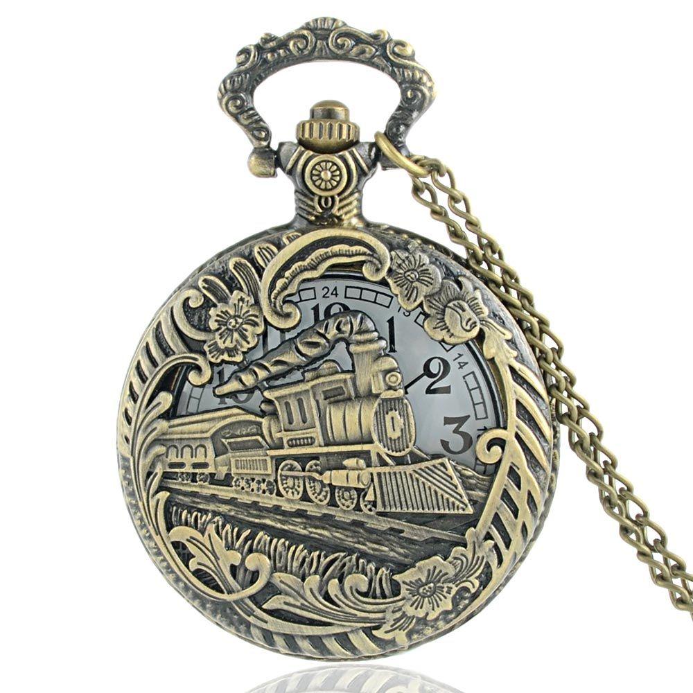 Wholesale Vintage Bronze Train Hollow Front Locomotive Engine Necklace Pendant Quartz Steampunk Pocket Watch P152 Digital Watches Police From
