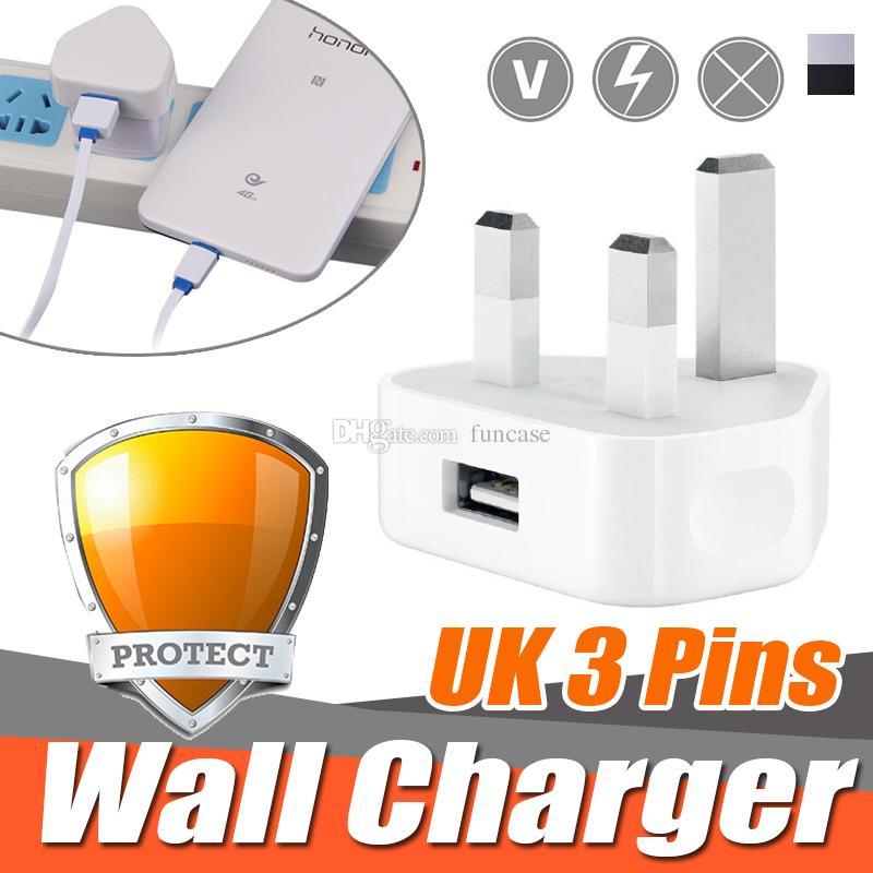 bdf716bc4a2 Bateria Portatil Para Movil Universal UK 3 Pin Adaptador De Cargador De Red  Plug 5V 1A UK USB Adaptador De Pared Para IPhone XS Plus X 8 7 6 Samsung  Galaxy ...